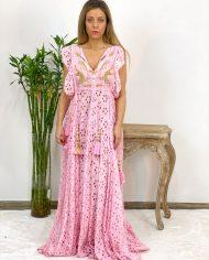 2010000498 Vestido Largo Bordado rosa. Ropa boho chic kimscut collection (11)