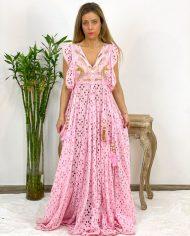 2010000498 Vestido Largo Bordado rosa. Ropa boho chic kimscut collection (16)