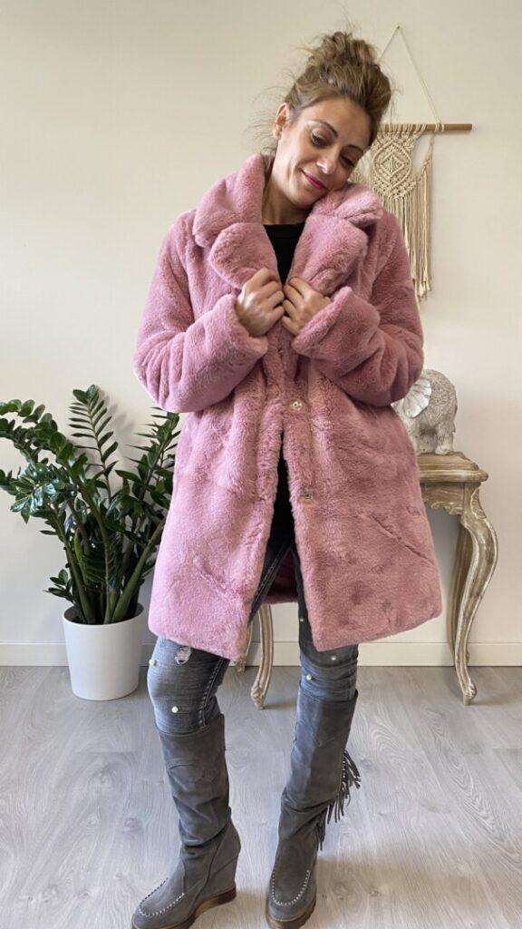 abrigo pelo rosa