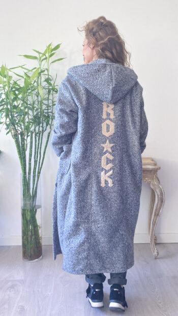 abrigo boho chic rock gris
