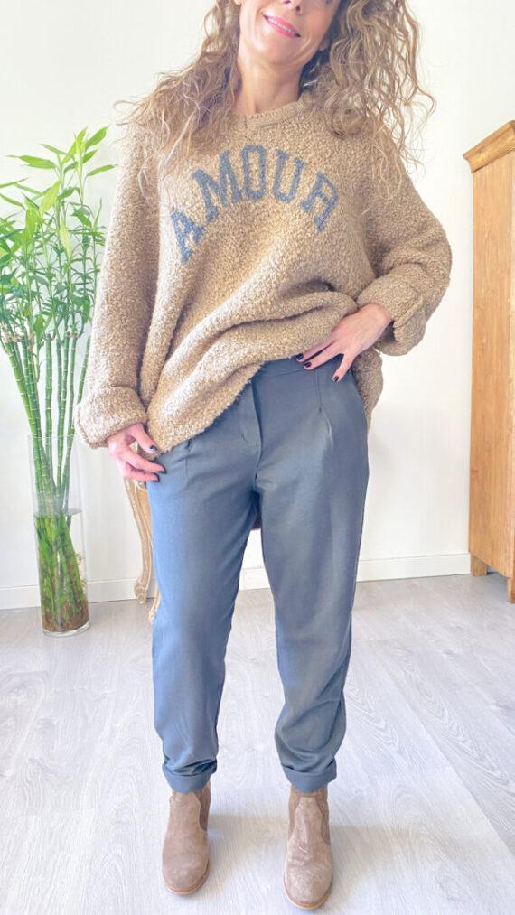 pantalon boho chic gris