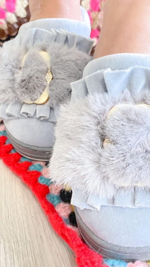 zapatilla boho chic furry gris