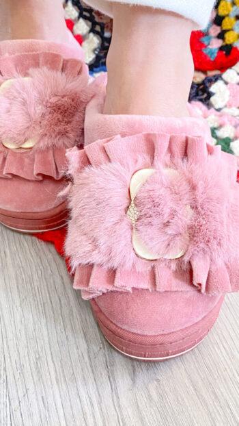zapatilla boho chic furry rosa