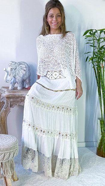 falda blanca larga boho